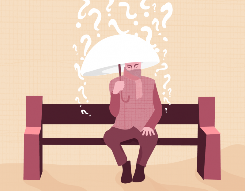 A person sitting on a bench with an umbrella, being rained down on by question marks and self-doubt