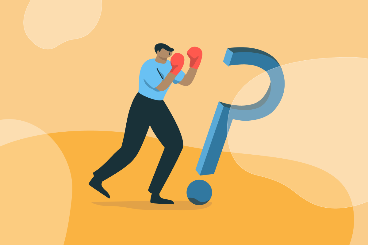 A person in boxing gloves is fighting self-doubt, symbolized by a question mark.