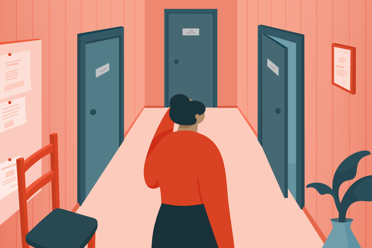 How To Distinguish Between Psychologist, Therapist, And Psychiatrist: A woman is standing in front of three doors.