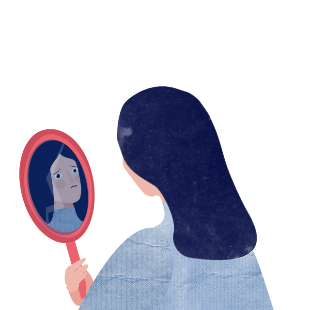 A woman looking at herself in the mirror with a poor self-image, experiencing symptoms of depression