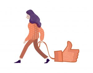 "A woman dragging a ""like"" on a leash, like her pet - social media and depression"