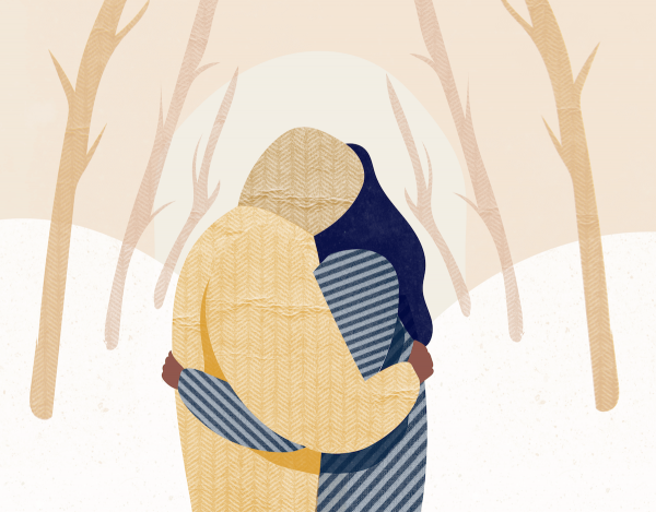 A couple huggin each other in hard moment. Depression puts pressure on a relationship.