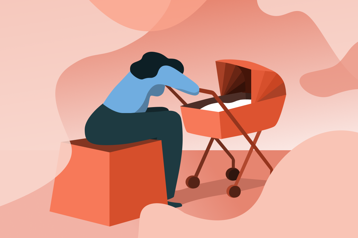 Postpartum depression is illustrated by a mother sitting sadly in front of a stroller.