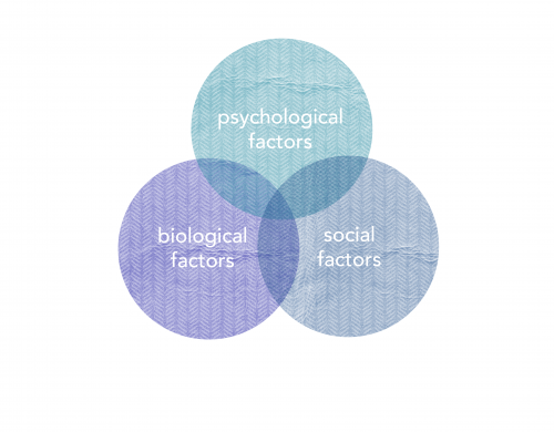 Three overlapping causes of depression: psychological factors, biological factors, social factors. (Presented in a Venn diagram)