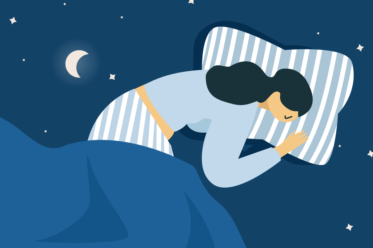 Sleep problems - A female is lying in bed with a moonlight sky in the background.