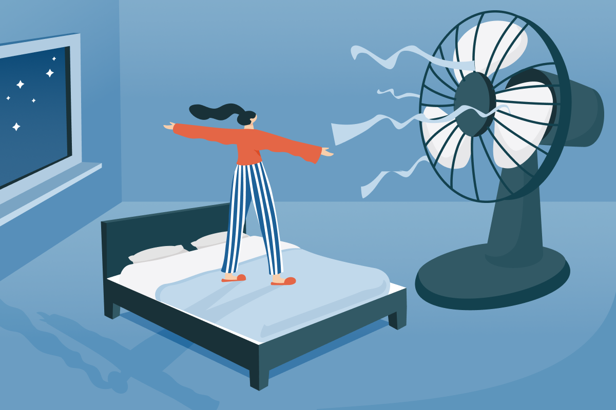 Sleep well despite heat: A figure stands on her bed in front of an oversized ventilator.